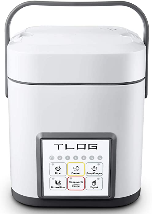 TLOG Mini Rice Cooker, 2 Cups Uncooked (0.6L) Portable Rice Cooker, Food Steamer, Travel Rice Cooker Small, Multicooker for Brown Rice, White Rice, Soup, Keep Warm, 12 Hour Preset, ARC-150