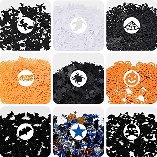 135 g Halloween Confetti Bat Pumpkin Ghost Spider Cobweb Witch Confetti for Halloween Themed Party (Gift Bag Balloon Weight)