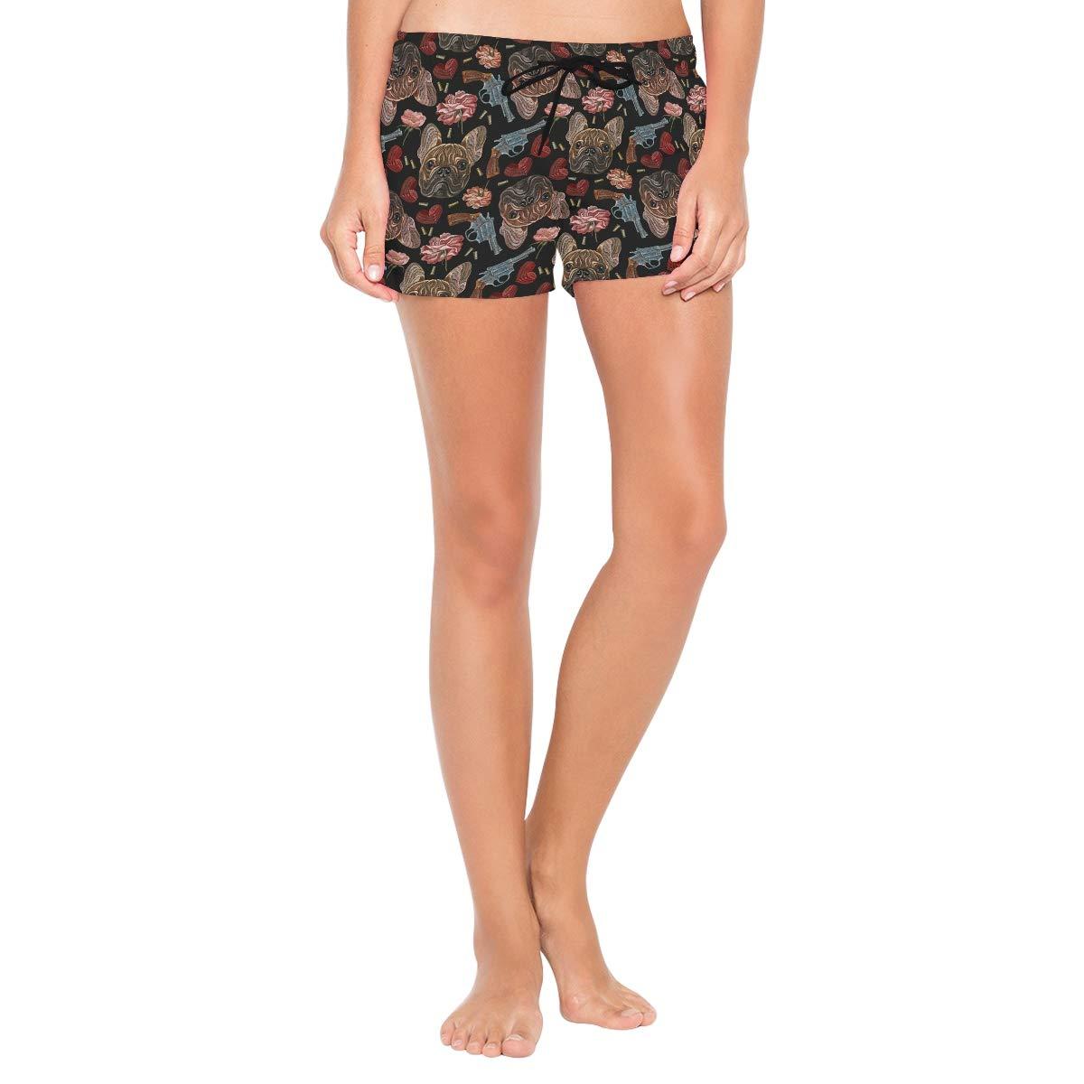 Lttedeng Womens Bulldog Flowers Hearts Guns Shorts Swimwear Running Shorts Beach Shorts for Women