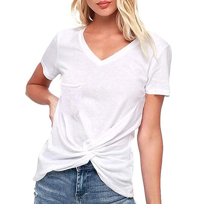 VEMOW Camiseta de Mujer Blusas Camisetas Manga Corta de Mujer con Cuello de Pico Camisas Tops(Blanco, S): Amazon.es: Ropa y accesorios