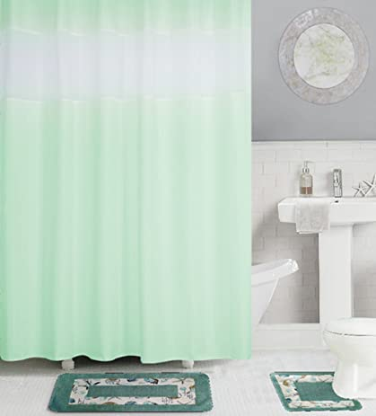 Eforcurtain Home Fashion Mint Green Polyester Fabric Bathroom Curtain Waterproof Mildew Resistant White Organza Stitching
