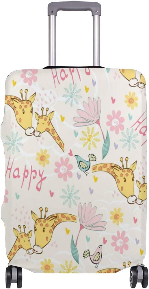 18//22//26//29 Inch Travel Suitcase Luggage Protective Cover with Happy Giraffe