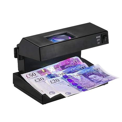 Escritorio portátil Detector de billetes falsos Dinero en efectivo Billetes de banco Comprobador de notas Soporte
