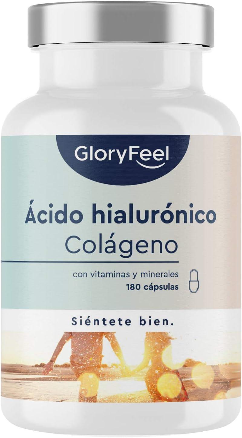 Colágeno + Ácido hialurónico + Biotina + Vitamina C natural + Zinc + Selenio + Extracto de bambú - Para la piel, articulaciones, los huesos y el cabello -180 cápsulas (Suministro para 3 meses)