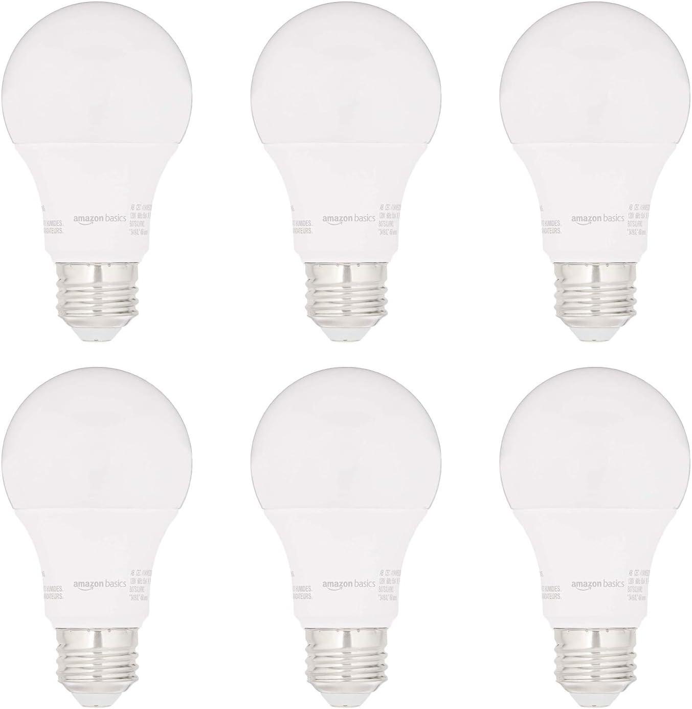 AmazonBasics 40W Equivalent, Soft White, Non-Dimmable, 15,000 Hour Lifetime, CEC Compliant, A19 LED Light Bulbs | 6-Pack