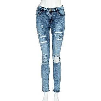 Damen Übergröße Ripped Stretch Jeans Hose Skinny Röhrenjeans Röhrenhose Jeggings