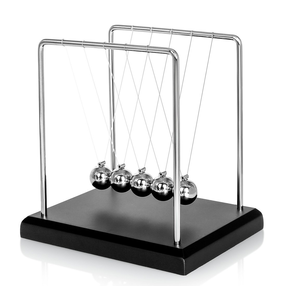 Newton's Cradle, Zinnor Newton's Cradle Balance Balls with Metal Balance Ball and Black Wooden Base Cccompany Your Child's Grown-Up | Decoration for Living Room Drawing Room and Office Newton's Cradle