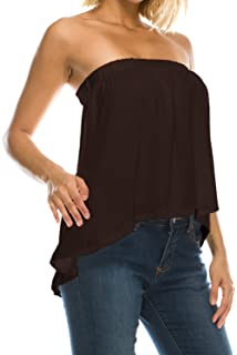 66a3e67539c6b Jubilee Couture Womens High Low Flared Bottom Drapey Flowy Tube Top Blouse  Made in USA