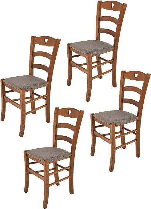 4 Sedie In Legno.Tommychairs Set 4 Sedie Modello Cuore Per Cucina Bar E Sala Da Pranzo Robusta Struttura In Legno Di Faggio Color Noce Chiaro E Seduta Rivestita In Tessuto Colore Capriolo Amazon It Casa