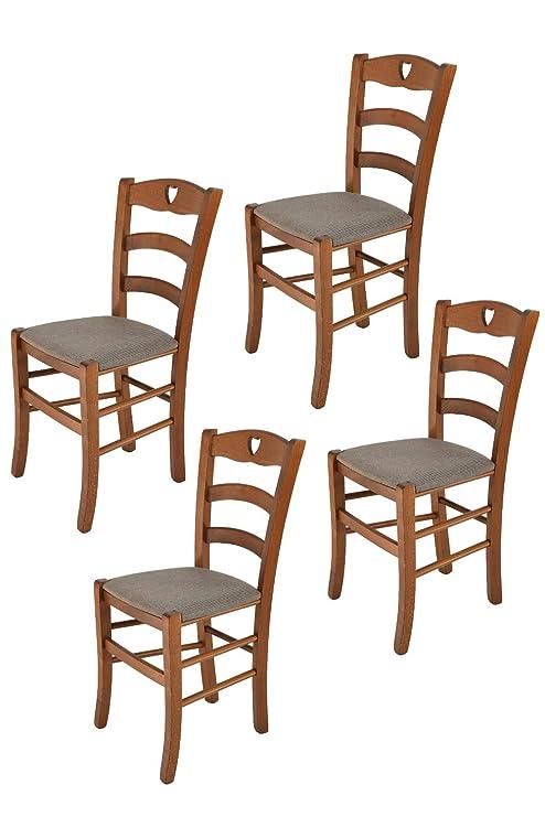 Tommychairs – Set 4 sedie Classiche Cuore per Cucina e Sala da Pranzo,  Robusta Struttura in Legno di faggio Verniciata Color Noce e Seduta  Imbottita e ...