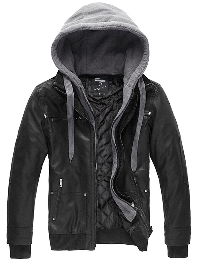 Wantdo Men's Leather Jacket with Removable Hood US XXX-Large Black(Heavy) by Wantdo