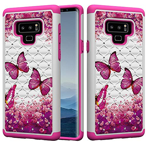 Galaxy Note 9 Case, UZER Dual Layer Shockproof Luxury Glitter Sparkle 3D Diamond Studded Bling Rhinestone Painted Series Hard PC+ Soft Silicone Hybrid Impact Defender Case for Samsung Galaxy Note 9 (Verus Case Note 3 Card)