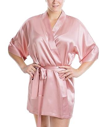 cc96421e66b OSCAR ROSSA Women s Luxury Silk Sleepwear 100% Silk Sexy Short Robe Kimono  at Amazon Women s Clothing store