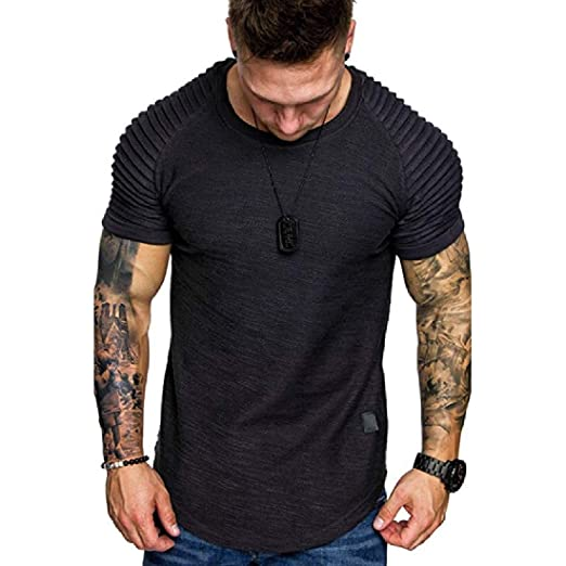 6cdfed611 ARTFFEL Men Slim Short Sleeve Crew Neck Solid Color Ruched Tee T-Shirts |  Amazon.com
