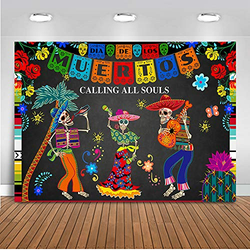 Mehofoto Day of The Dead Backdrop Mexican Sugar Skull Photography Background 7x5ft Vinyl Dia DE Los Muertos Dress-up Party Supplies Fiesta Banner Decoration