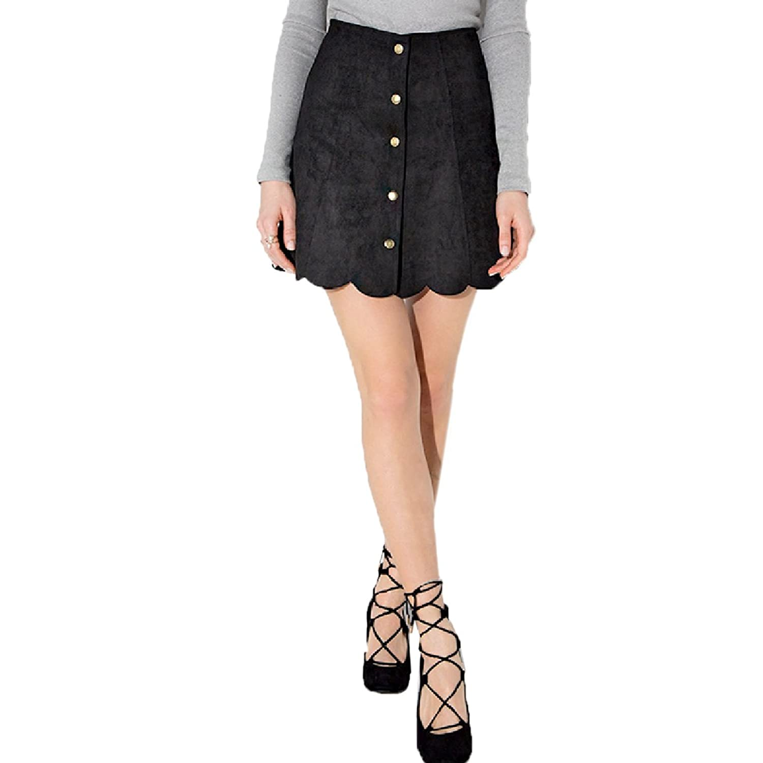 Escalier Women A line Single Breasted Button Down Mini Suede Skirt