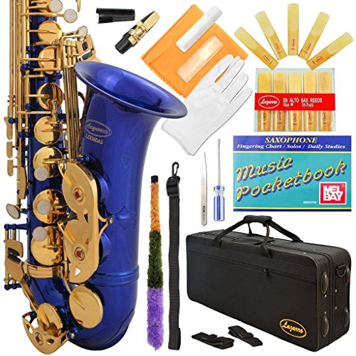 Lazarro 360-BU E-Flat Eb Alto Saxophone Royal Blue-Gold Keys with Case, 11 Reeds, Care Kit and Many Extras by Lazarro