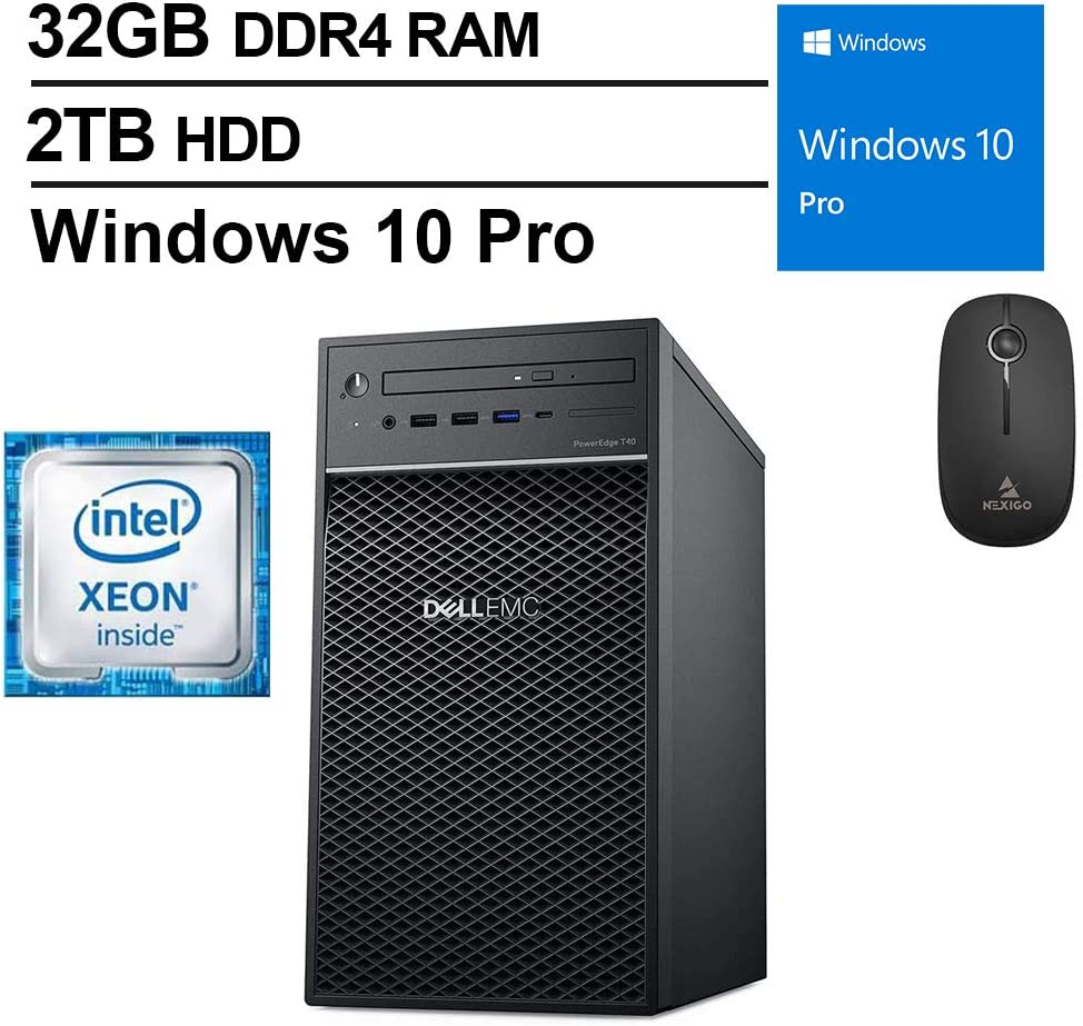 2020 Newest Dell T40 Premium Desktop, Intel Core Xeon E-2224G up to 4.7 GHz, 32GB DDR4 RAM, 2TB HDD, DisplayPort, DVD-RW, Windows 10 Pro, Black + NexiGo Wireless Mouse Bundle
