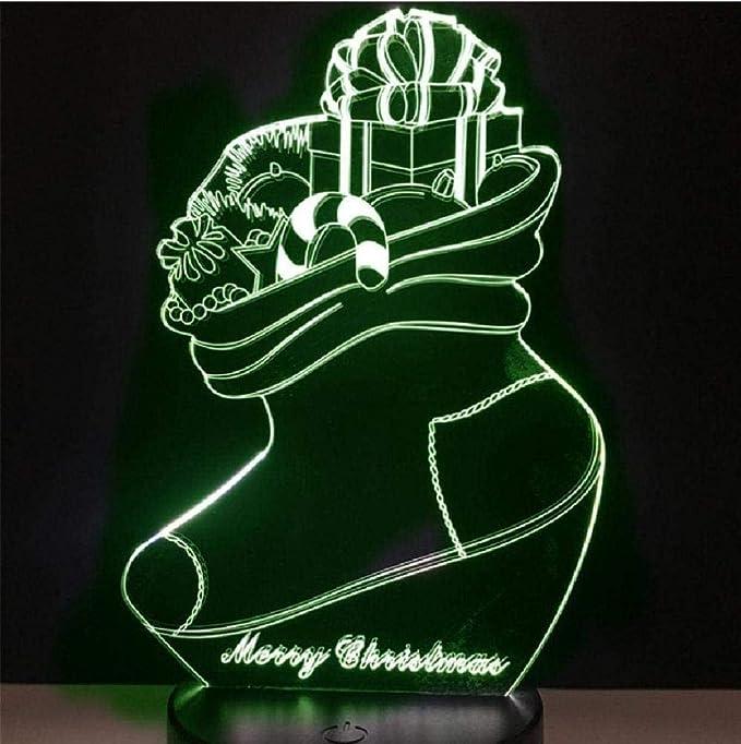 Calcetín navideño Noche creativa Luz nocturna 3D LED Luz