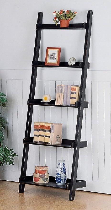 Coaster Ladder Bookcase Black Mahogany
