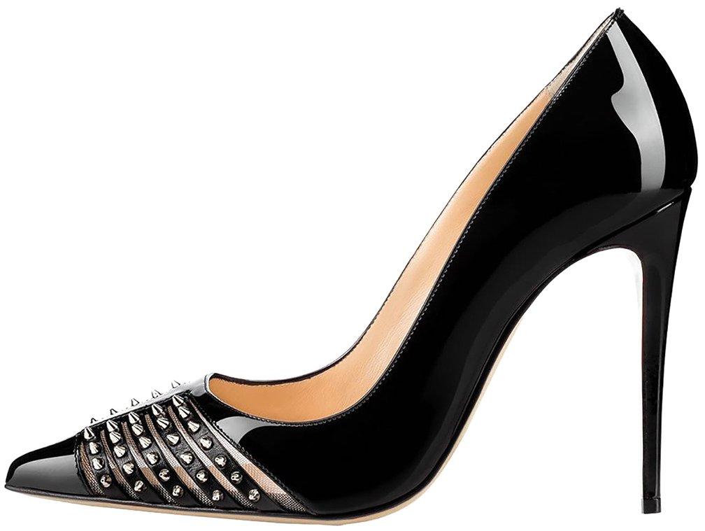Calaier Mujer CaRussian Tacón De Aguja 12CM Sintético Ponerse Zapatos de tacón 38|Negro