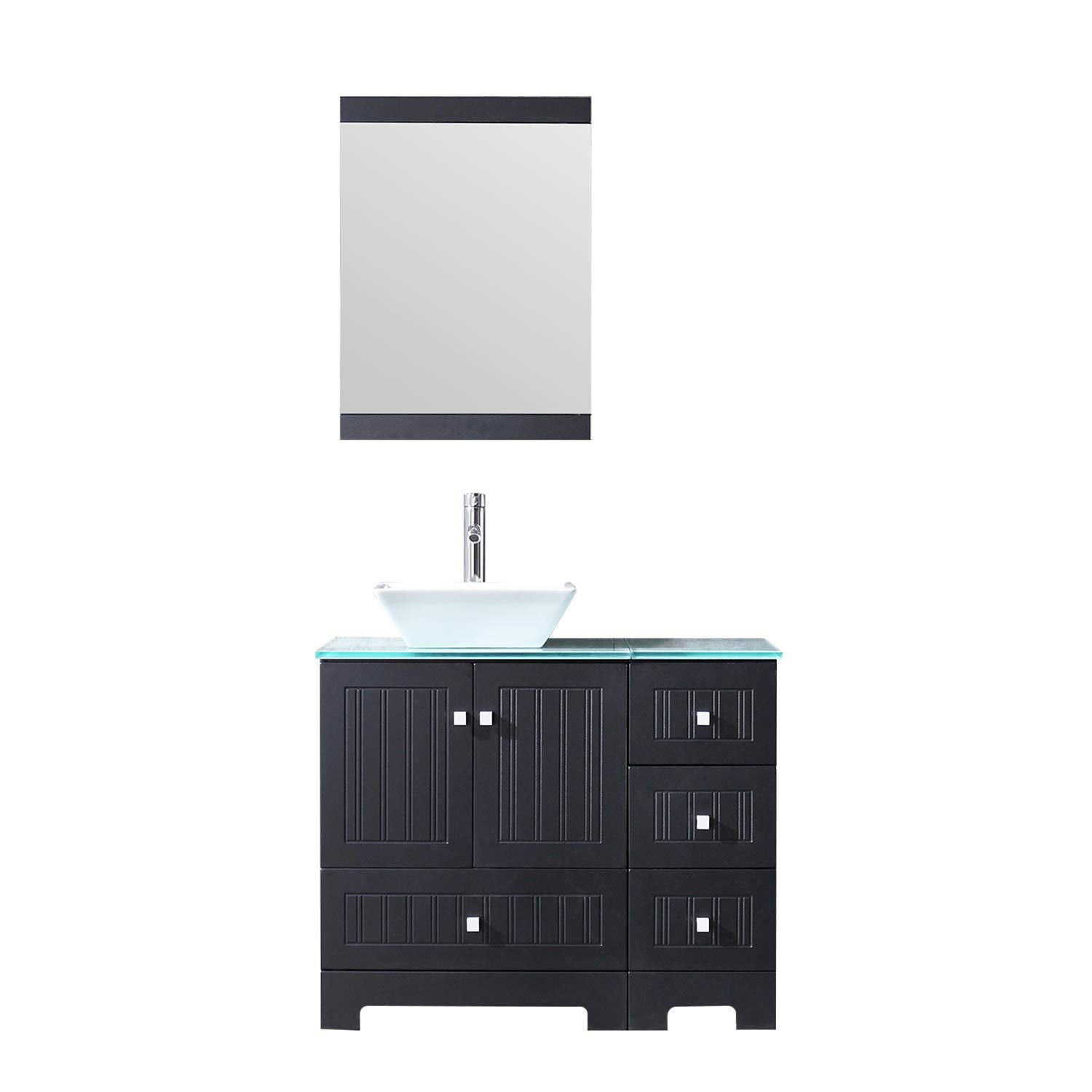 Bathjoy 36 Black Bathroom Vanity Cabinet Single Square Ceramic