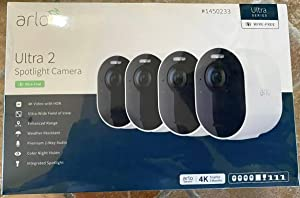 Arlo Ultra 2 Spotlight Camera Wire Free Security System 4 Pack with Total Security