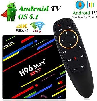 LayOPO H96 MAX TV Box, Decodificador Android 8.1 OS con Control Remoto de Voz, 4GB RAM 32 / 64GB ROM, 4K TV Box para Todos los Televisores Antiguos: Amazon.es: Electrónica