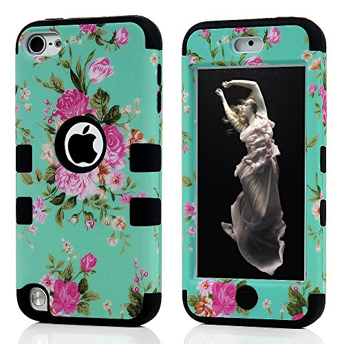 (iPod Touch 6 Case, Touch 5 Case, 3 in 1 Soft Flexible TPU Hard PC Scratch Shock Absorbing Resistant Shell Pink Rose Pattern Cover for iPod Touch 5/6, Green)