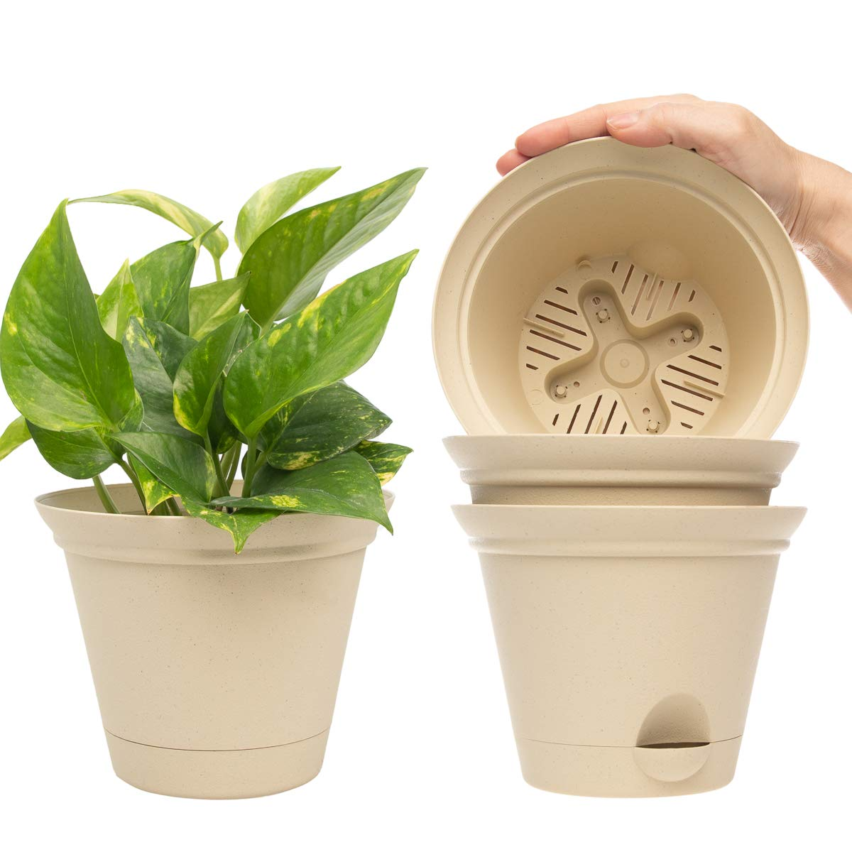Misco 4 Pack 6.8 Inch Plant Spa Flared Self Watering Planter Indoor Outdoor Planters Flower Pot