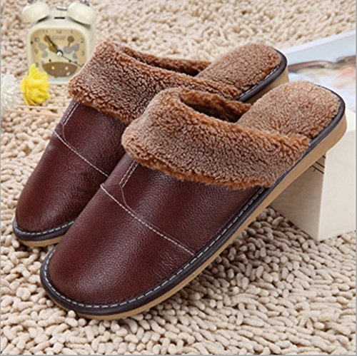 Indoor Coffee Plush Slipper Lined SAMSAY Unisex Shoes Warm Leather wZw8gIU