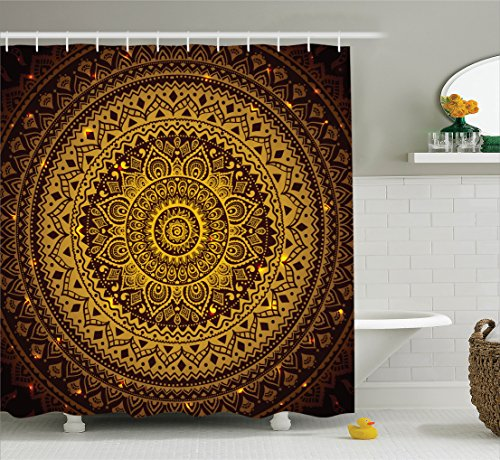 Mandala Shower Curtain by Ambesonne, Brown Mandala Pattern in Dark Colors Antique Arabesque Style Illustration Symmetrical Art, Polyester Fabric Bathroom Set, 84 Inches Extra Long, Gold and - Gold Color Brown