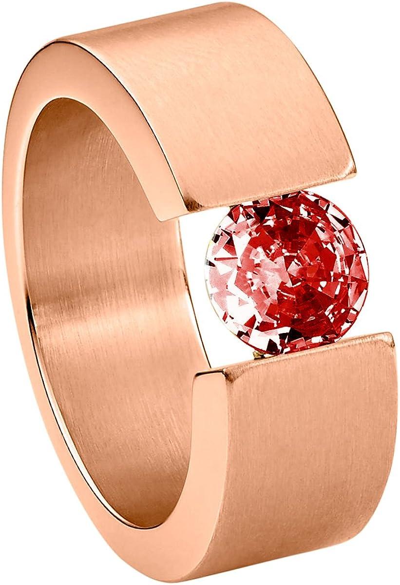Heideman Ring Ladies Acero Inoxidable Rosegold Colores Mate Damas Anillo para Las Mujeres con Piedra de Swarovski Zirconia de Corte Brillante de 7mm