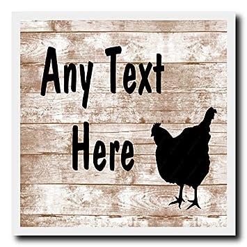 Shabby Chic de gallo pollo Gallina pared cuadrada puerta valla puerta casa signo placa: Amazon.es: Oficina y papelería
