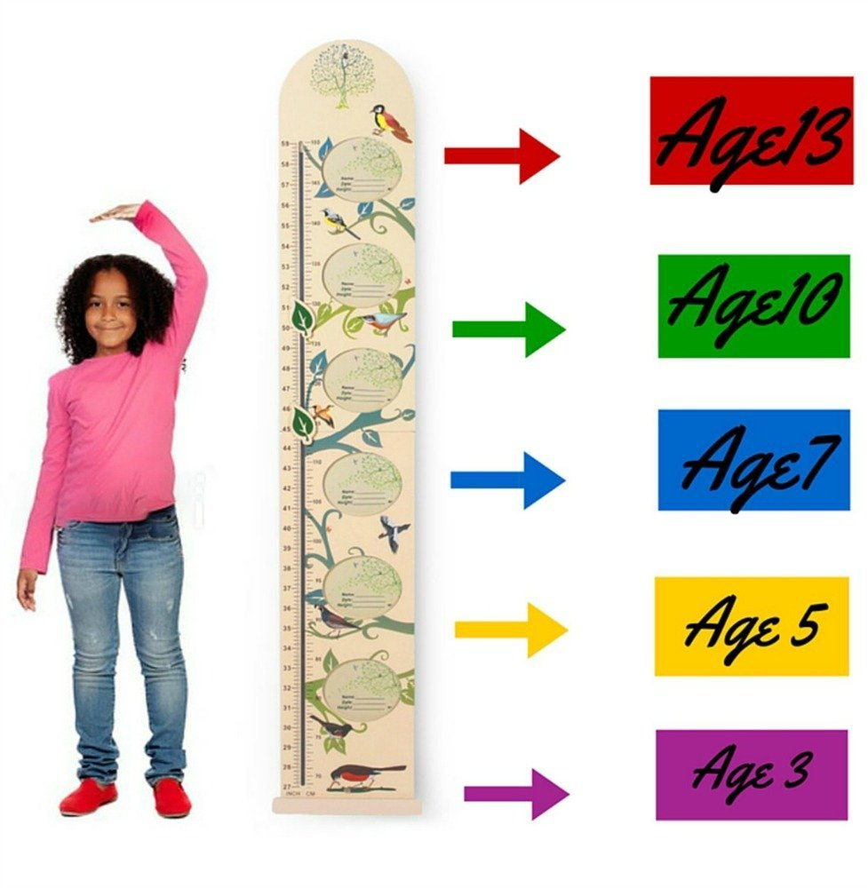 Kids Wall Wooden Growth Height Chart- Hanging Ruler for Children- Easy to Move, Fold-able, Nursery Decal from HAPPYBABY-HAPPYYOU with Picture Frames GC-307-HB