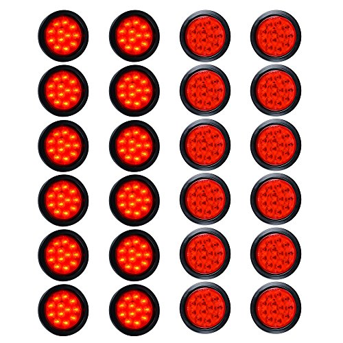 "24pcs Red 4"" Round 12-LED Tail Light Grommet Wiring Plug Kit for Truck Trailer RV UTE UTV"