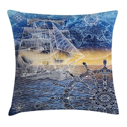 """Ambesonne Mandala Throw Pillow Cushion Cover, Nautical Print with Mandala Patterns Explorer Ship Map of The World Steering Wheel Sails, Decorative Square Accent Pillow Case, 20"""" X 20"""", Blue Yellow"""