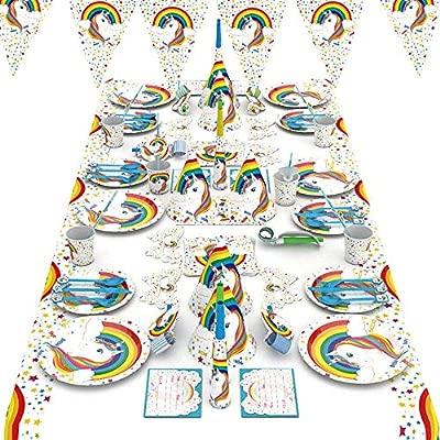 mreechan Set de Fiesta de Unicornio, Vajilla desechable,cumpleaños Supplies Set Contiene manteles, Cubiertos, silbatos, manteles, pajitas para ...