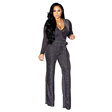 0a177a9d6f1 Amazon.com  Sparkly Sexy Jumpsuits for Women Clubwear Long Sleeve Elegant  Party Rompers high Waisted Wide Leg Pants Plus Size  Clothing