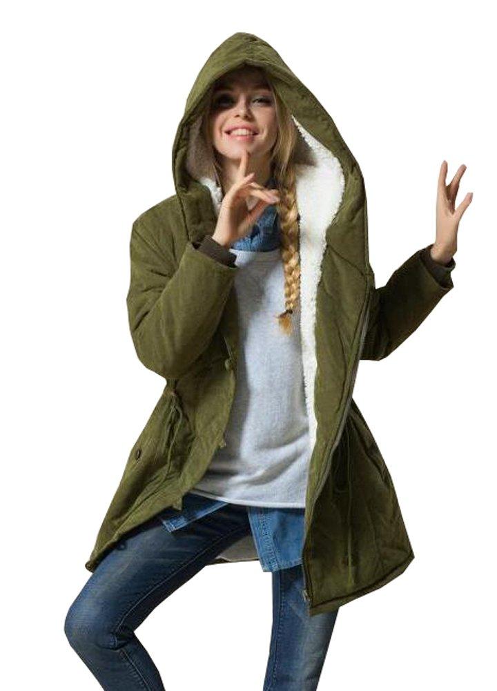 Wicky LS Women's Autumn Winter Hoody Fleece Outwear Coat With Drawstring Style 1 Army Green 3XL