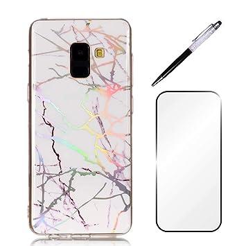 Carcasa para Samsung Galaxy J6 (2018) funda dygg funda – carcasa diseño de mármol de protección TPU silicona Bumper Phone Case Cover Swag negro azul ...