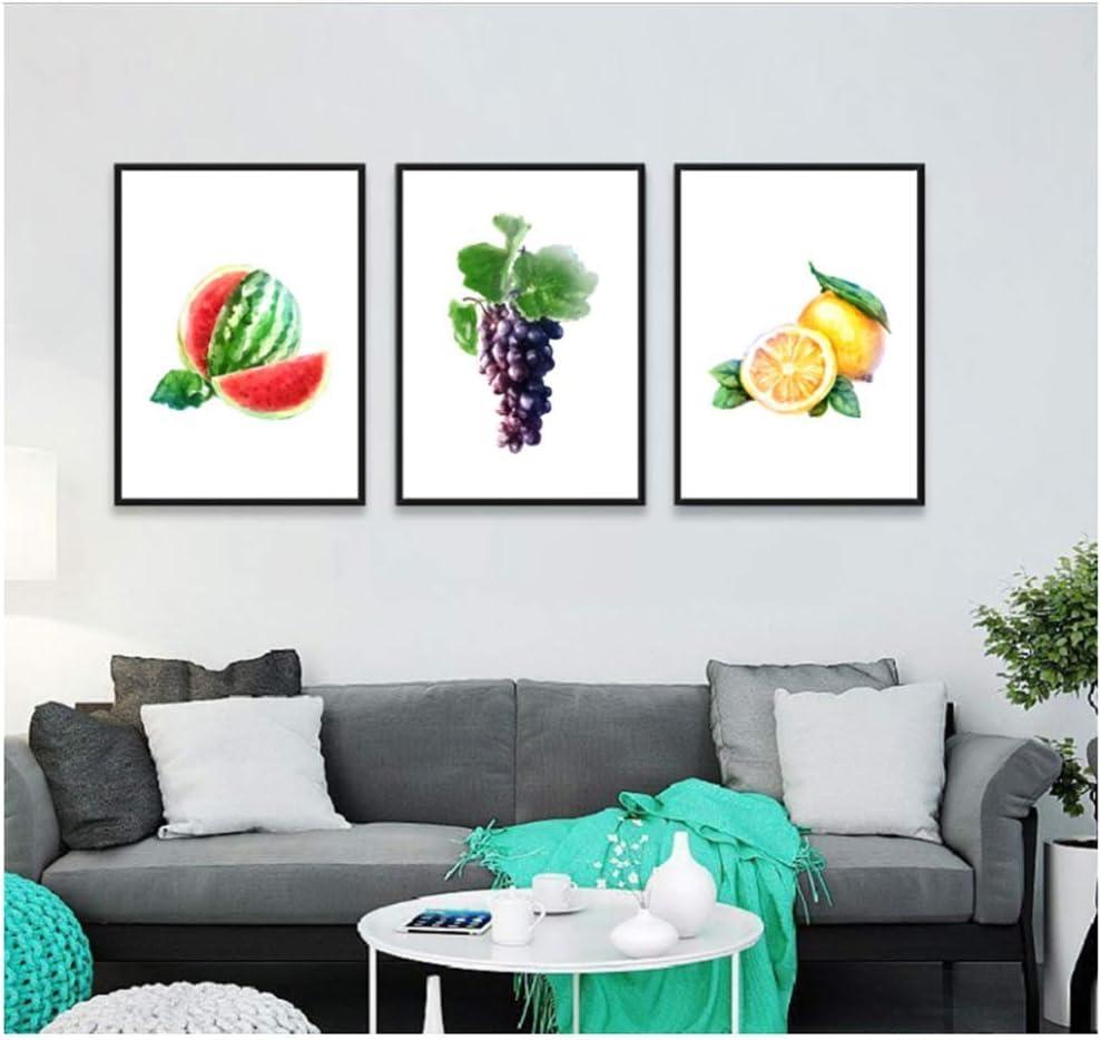 NOBRAND Lienzo Arte de la Pared Cartel de Estilo nórdico Moderno Color de Agua Dulce decoración de Fruta Pintura bodegón Cuadro Lienzo Pintura 3X50x70cm sin Marco