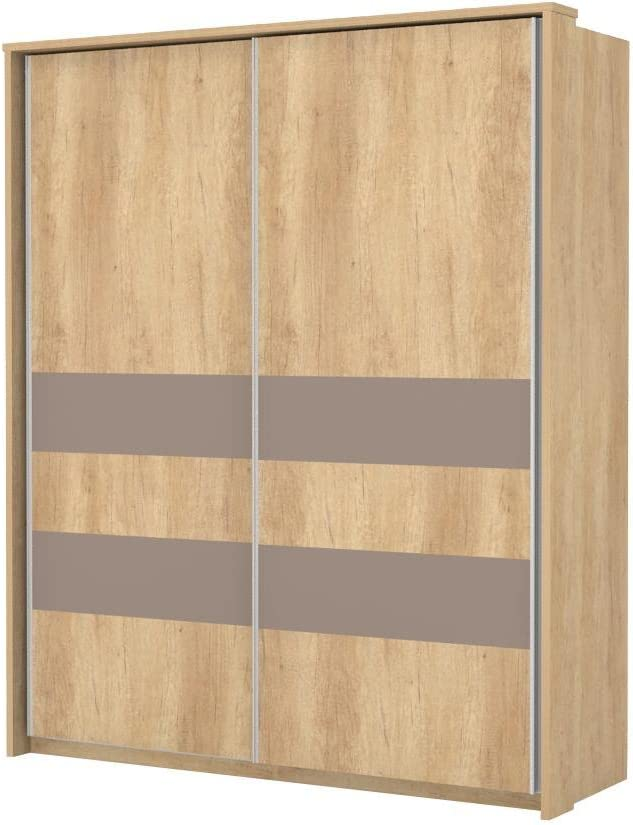 Armario de puertas correderas marrón claro 225 x 188 x 64 cm ...