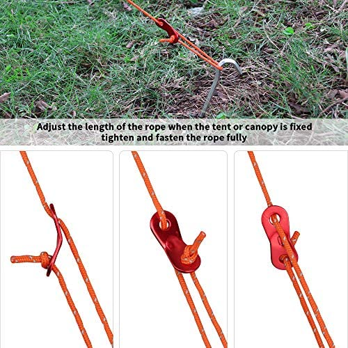 CHEPL Tent Guy Ropes 4 Pack Steel Tent Pegs Reflect Cord Guide Line Ropes with Adjuster Tent Fixed Stakes Windroof Rope Set for Camping Hiking Mountaineering