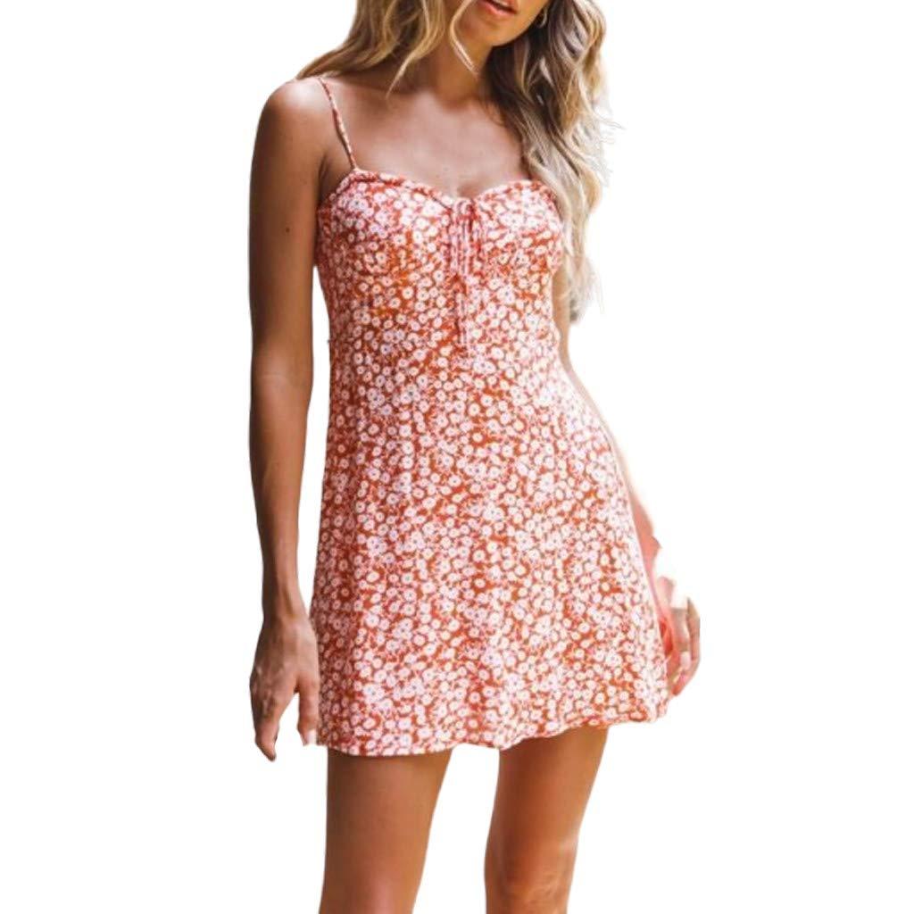 Mikey Store Womens Sexy Casual Sleeveless Floral Beach Bohemia Print Strappy Bows National Style Short Mini Dress Orange