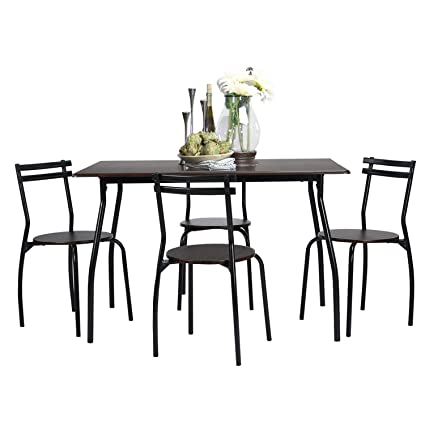 Amazon Com Coavas 5pcs Dining Table Set Kitchen Rectangle Dining