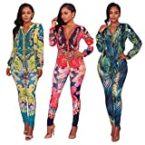 Women's Casual Floral Long Sleeve Top Bodycon Stretch High Waist Pants 2 Pieces Outfit Jumpsuit