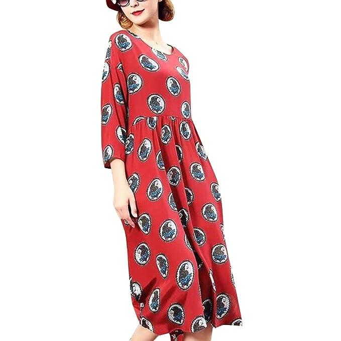 Vestido a Media Pierna con Cuello Redondo y Estampado Floral Vestido a  Media Pierna con Cuello Alto y Manga 3 4 para Mujer  Amazon.es  Ropa y  accesorios 8e132e73d2b