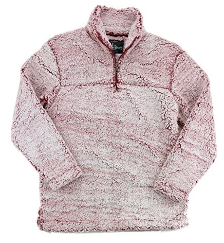 Boxercraft Adult Super Soft 1/4 Zip Sherpa Pullover-Snowy Garnet-xl