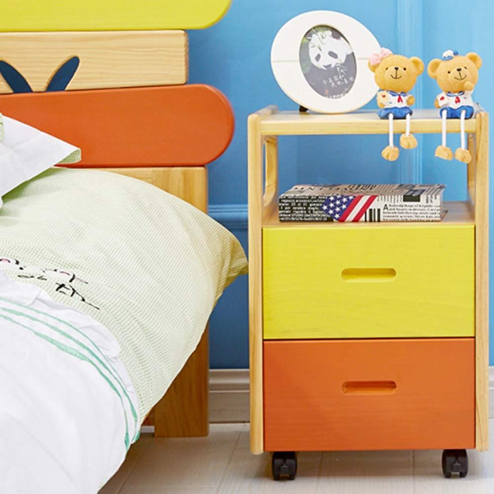 NN ベッドサイドテーブル - ソリッドウッドシンプルなモダンなベッドルームの子供のシンプルなストレージロッカー多機能ストレージ経済と環境保護の家具 ベッドサイド用テーブル (Color : Color wood color) B07T9RG6Z1 Color wood color